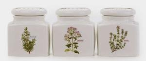 - MAXWELL & WILLIAMS FRAGRANT GARDEN PORCELAIN STORAGE; Oregano, Thyme, Rosemary Canister Set of 3 - 0.75l Each