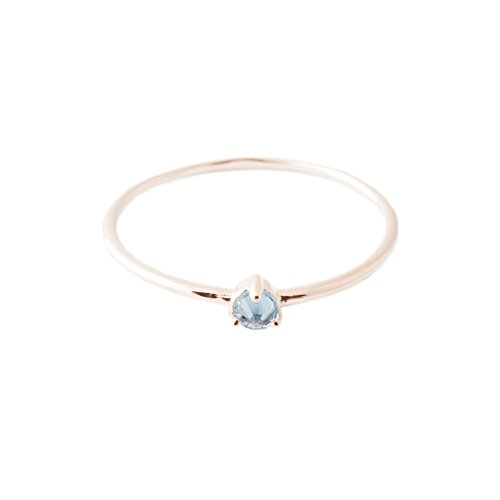 HONEYCAT Blue Aquamarine Crystal Point in 18k Rose Gold Plate | Minimalist, Delicate Jewelry (Rose Gold, 5)
