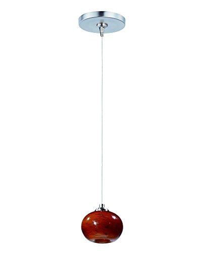 ET2 E94435-106SN Amber Cloud 1-Light RapidJack Pendant and Canopy Mini Pendant, Satin Nickel Finish, Amber Cloud Glass, 12V G4 Xenon Bulb, 11.5W Max., Dry Safety Rated, 3000K Color Temp., Shade Material, 259 Rated Lumens
