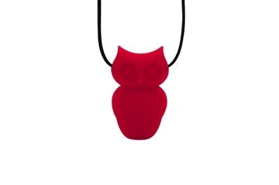 Owl Pendant - Silicone Necklace (Teething/Nursing) (Scarlet Red) -