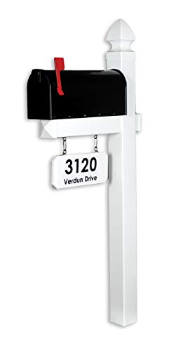 4EVER The Loudon Vinyl/PVC Mailbox Post - White (Includes Mailbox and Black Street Name and - Mailbox Post Treated
