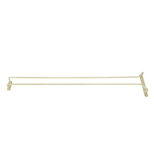 Winco GH-24, 24-Inch Brass Plated Wire Glass Hanger Rack, Single Channel Bar Glass Holder, Stemware Rack by Winco