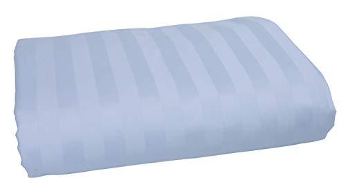 American Pillowcase 100% Long Staple Cotton Luxury Striped 540 Thread Count Flat Sheet - King/California King, Light Blue