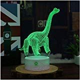 Night Light for Kids Dinosaur Toy Toddlers Illusion Birthday Gift Optical Desk Lamp Table Touch Nursery Walking Animal Light Party Children Room Boy Bedroom Decor 7 color Change USB Crackle Diplodocus