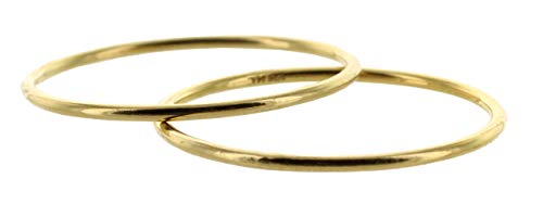 Viosi Women's Stacking Rings 14K Gold Filled I Thin Yellow Gold Stackable Two Rings Set I 1mm - Silver Newport Ring Sterling