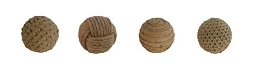 (Deco 79 45726 Natural Resin and Rope Decorative Balls, 4