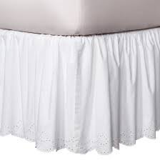 Simply Shabby Chic White Eyelet Bedskirt QUEEN (Chic Bedskirts Shabby)