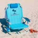 (Tommy Bahama Backpack Cooler Chair with Storage Pouch and Towel Bar, Blue)
