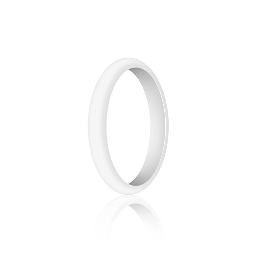 (WIGERLON Womens Silicone Wedding Ring&Rubber Wedding Bands for Workout and Sports Width 3mm Color White Size 6)