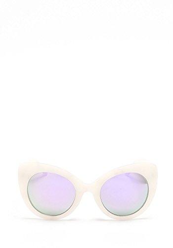 Quay Women's Mirrored Screamin Diva QW-000080-WHTMAR/PURP White Cat Eye - Quay White Sunglasses