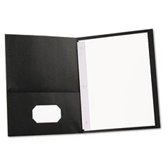 ** Two-Pocket Portfolios w/Tang Fasteners, 11 x 8-1/2, Black, 25/Box ** by 4COU