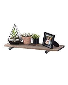 PIPE DÉCOR Industrial Pipe Wooden Shelf, Distressed Aged Wood Paired with Rustic Industrial Iron Pipe Bracket, Wall Mounted Floating Shelf, Barn and Reclaimed Wood Inspired, 24 Inch Gray 1 Pack ()