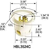 Hubbell HBL3524C Locking Flanged Inlet, 20 amp, 250V/10 amp, 600V, 4 Pole, 5 Wire