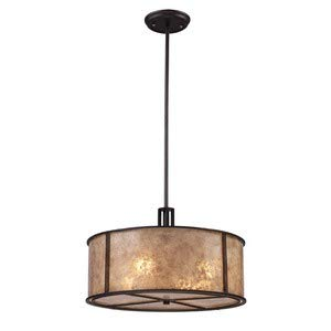 (Elk 15032/4 Barringer 4-Light Pendant In Aged Bronze and Tan Mica Shade)