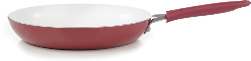 WearEver C94307 Pure Living Nonstick Ceramic Coating Scratch Resistant FTFE PFOA and Cadmium Free Dishwasher Safe Oven Safe Saute Pan Fry Pan Cookware, 12-Inch, Red