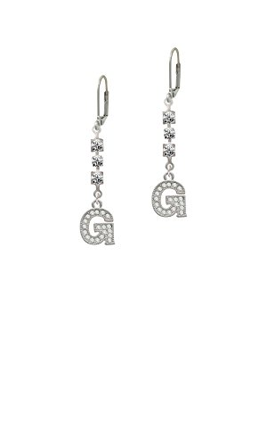 Crystal Initial - G - Beaded Border - Crystal Madison Leverback (Crystal Beaded Leverback Earrings)