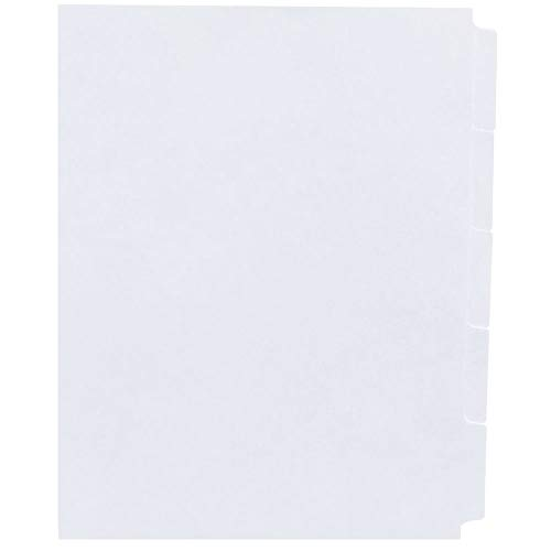 AMZfiling Never-Jam Custom Blank Copier Tabs- 5 Tab Dividers, White, 1/5 Cut, Reverse Collated, Unpunched (1000/Carton)