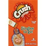 Crush Singles To Go Powder Packets, Water Drink Mix, Orange, Non-Carbonated, Sugar Free Sticks (12 Boxes with 6 Packets Each - 72 Total Servings)