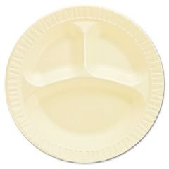 Foam Plastic Plates, 10 1/4 Inches, Honey, Round, 3 Compartments, 125/