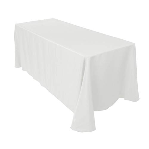 Surmente Tablecloth 90 x 132-Inch Rectangular Polyester Table Cloth for Weddings, Banquets, or Restaurants (White) -