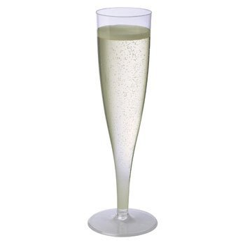 Sovereign 5oz Plastic Champagne Flutes Glasses 10 1-Piece Design Glasses