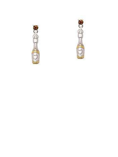 Tone Two Earrings Brown (Two-tone Champagne Bottle Brown Crystal Post Earrings)