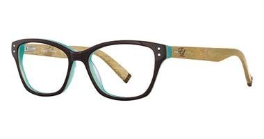 English Laundry Wheeler Rectangular Eyeglasses Frame for Women, Chocolate Mint Bamboo Color from Zimco