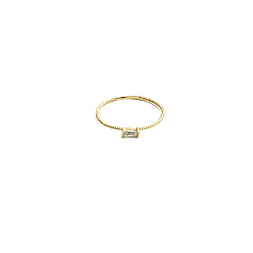HONEYCAT Tiny Baguette Crystal Ring in Gold Plate, Rose Gold Plate, or Sterling Silver Plate | Minimalist, Delicate Jewelry (Gold, 6)