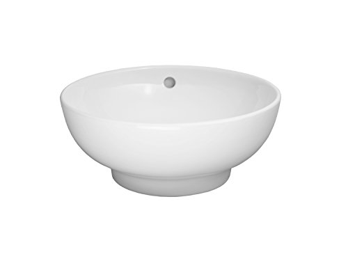 RONBOW Rondure 16 Inch Round Ceramic Vessel Bathroom Sink in White 200102-WH (Ronbow Counter)