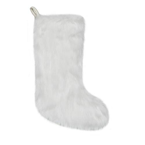 New Traditions White Faux Fur Christmas Stockings - 19 inch Festive Stocking (Of Christmas Tradition Stockings)
