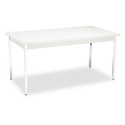 HON High-pressure Laminate Utility Table - Rectangle - 60'' x 30'' x 29.0'' - Chrome, Metal, PVC, Steel - Light Gray by HON