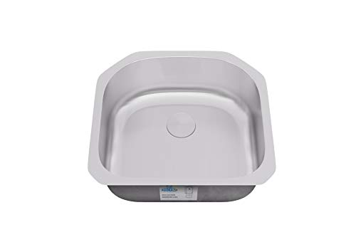 Allora USA KSN-2321-7, Undermount 304 Stainless Steel D Shape Kitchen Sink, 18/10 Chrome-Nickel Content, Total Dimensions 23