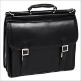 (McKlein MCKLEIN 80335 15.4 INCH Halsted Black Double Compartment Notebook CASE Full Grain Oil Tanned Leather)