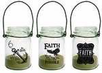 Mason Jar Lanterns - Anchor Eagle Faith (Set of 3)