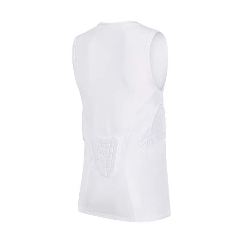 TUOY Youth Chest and Rib Protector Padded Compression Sleeveless Shirt White Youth Medium for Baseball Football Basketball Soccer