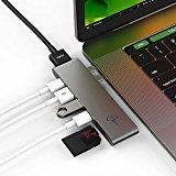 CharJenPro USB-C Hub MacBar Adapter / Hub For Apple Macbook Pro 2016 / 2017 - 40GB/S Thunderbolt 3 port 5K@60Hz, USB-C data, 2 USB 3.0, SD And Micro SD Card Readers (Space Gray)