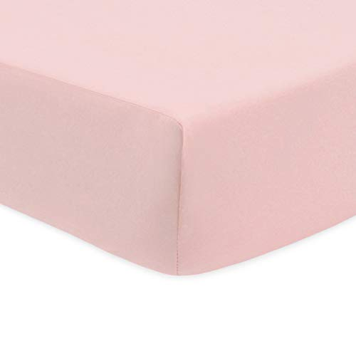 American Baby Company 100% Natural Cotton Percale Fitted Crib Sheet for Standard Crib and Toddler Mattresses, Blush Pink, Soft Breathable, for Girls