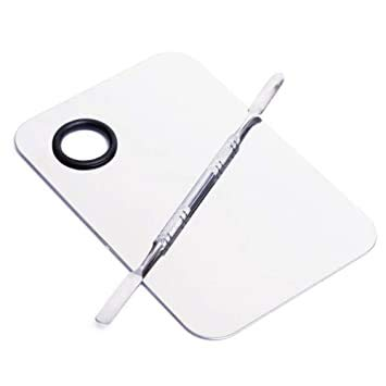 TRENDY LOOK Stainless Steel Cosmetic Makeup Mixing Plate with Spatula Tool (White)