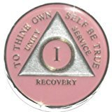 13 Year Pink Tri-Plate Alcoholics Anonymous Medallion- AA Sobriety Chip(1 Year Shown)