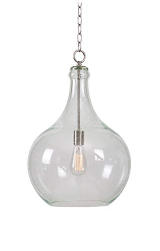 Kenroy Home 93186CLR Rhone 1 Light Pendant, Brushed Steel & Seeded Glass