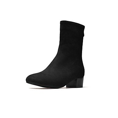 Desy Mujer Zapatos Botas de otoño invierno Fashion botas de piel sintética piel de nobuck botas Chunky tacón cerrado Toe Botines/Botas de tobillo con cremallera para negro