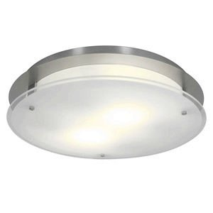 Access Lighting 50038-BS/FST Vision Round Two Light 16-Inch Diameter Flush Mount with Frosted Glass Shade, Brushed Steel Finish