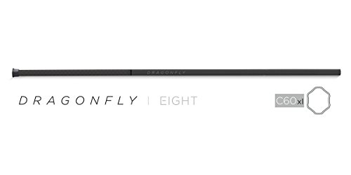 Epoch Lacrosse Shaft - Dragonfly | 8, 60' Mid-Flex iQ5 Concave Geometry, Made in USA, Removable End Cap, 1-Year Warranty, Carbon Black