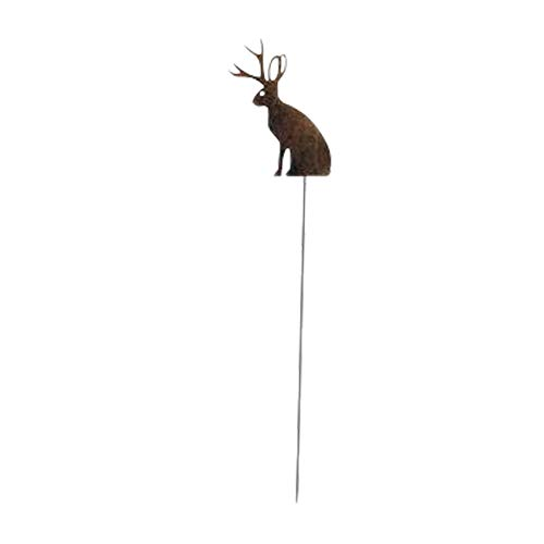 (Village Wrought Iron 35 Inch Jackalope Rusted Garden Stake)