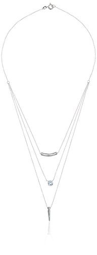Sterling Silver Round White Cubic Zirconia 6mm Layered Necklace, 16