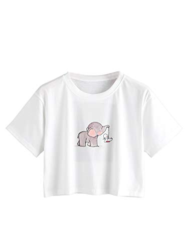 Elephant Print Tee - MAKEMECHIC Women's Cute Elephant Print Crop Tee Tops White Small