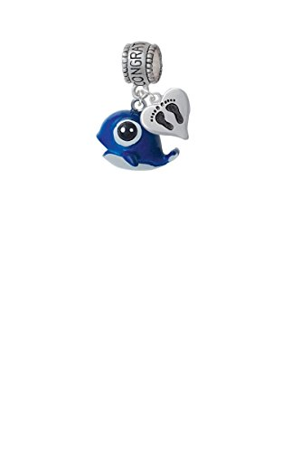Resin Blue Baby Whale Congratulations Charm Hanger with Mini Baby Feet (Baby Whale Charm)
