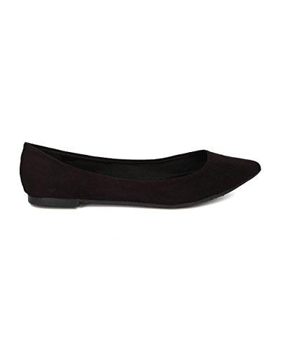 Casual Slip on School Toe by Pointy Office Flat Ballet GH13 Black Women Flat Breckelles TZXfw