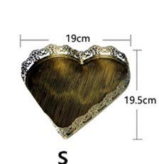 Silverware Tray - Vintage Tray Metal Golden Color Heart Shaped Dessert Plate Serving Tray