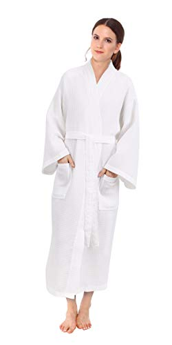 - White Waffle Spa Robe Unisex Cotton Robe - New Low Price One Size Fits Most